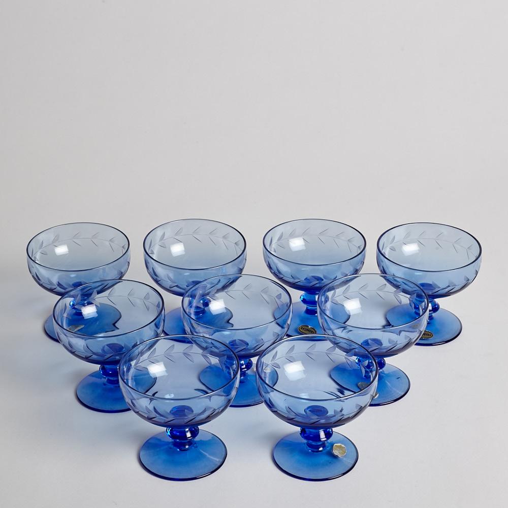 Reijmyre Glasbruk - SÅLD Dessertskålar med gravyr 9 st