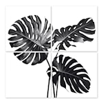 Kakeldekor Monstera 15x15 cm 4-pack Vit
