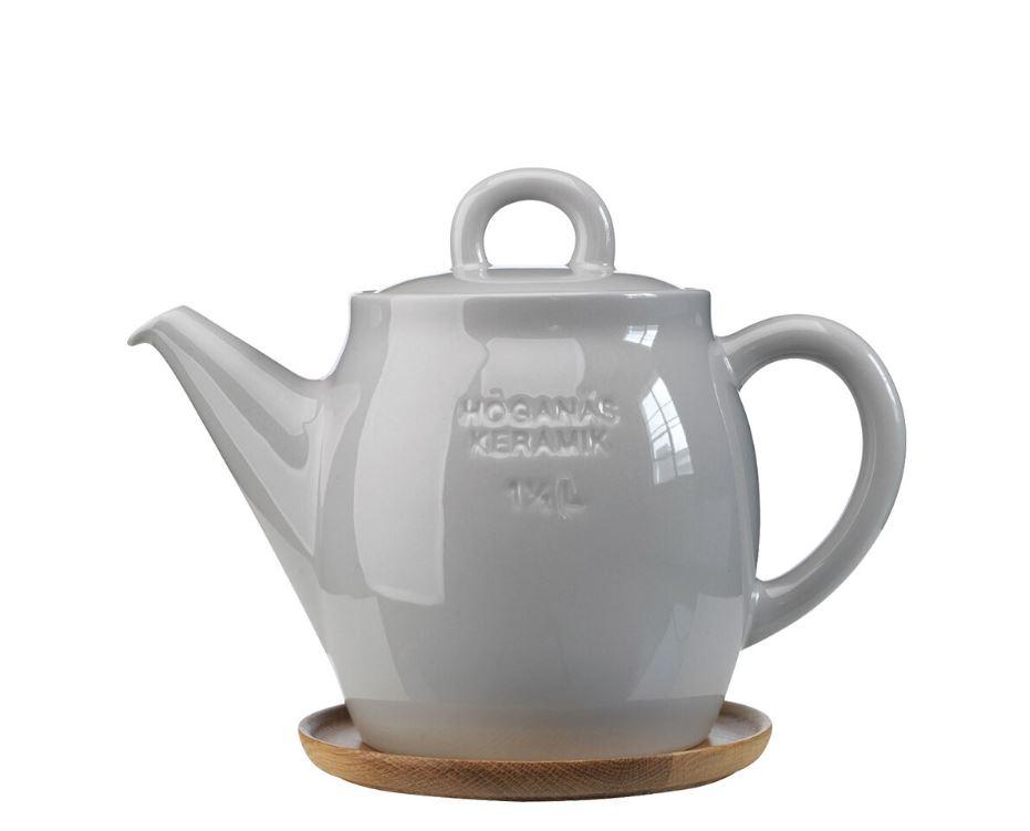 Höganäs Keramik - Tekanna med träfat 1,5 L Kiselgrå