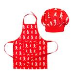 Förkläde + Kockmössa Barn Röd