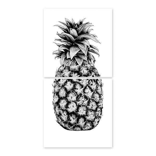 Kakeldekor Ananas 15x15 cm 2-pack Transparent