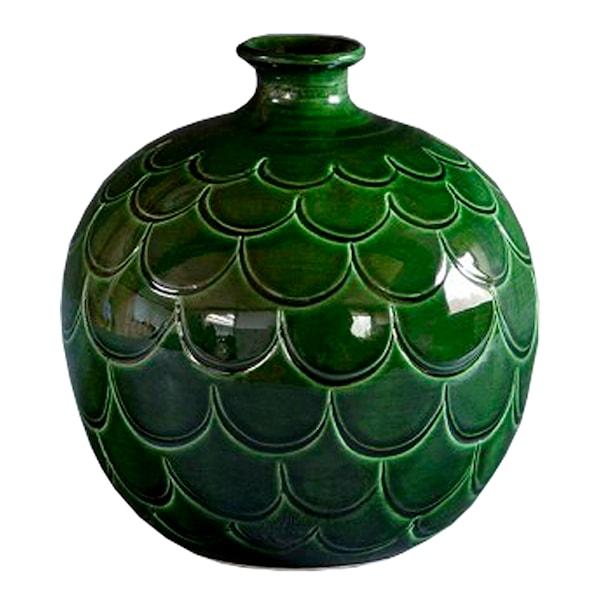 Misty Vas rund Grön emerald 20 cm