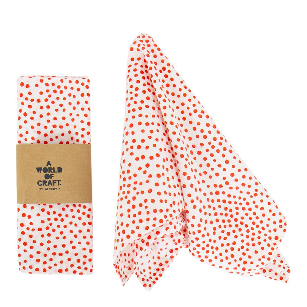 Afroart - Fläck Textilservett 45x45 cm 2-pack  Röd/Naturvit