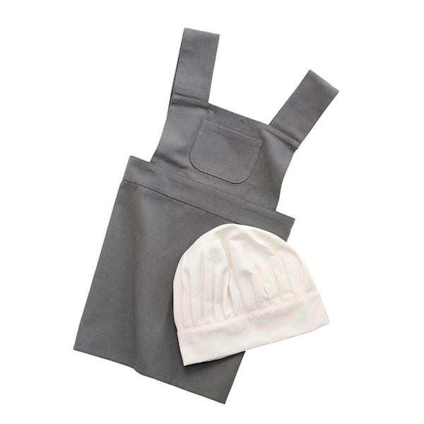 Sebra Förkläde + Kockmössa Elephant Grey