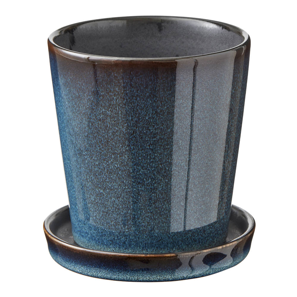 Bitz - Skjuler Kruka med fat 10 cm Mörkblå/Svart