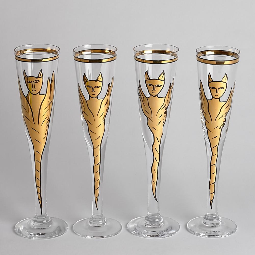 "Kosta Boda - SÅLD Champagneglas ""Goldie"" Ulrica Hydman Vallien 4 st"