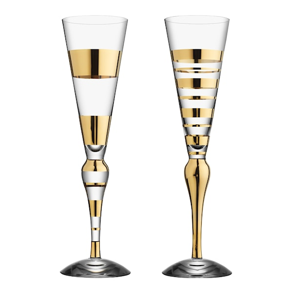 Orrefors Clown Guld Champagne 22 cl 2-pack