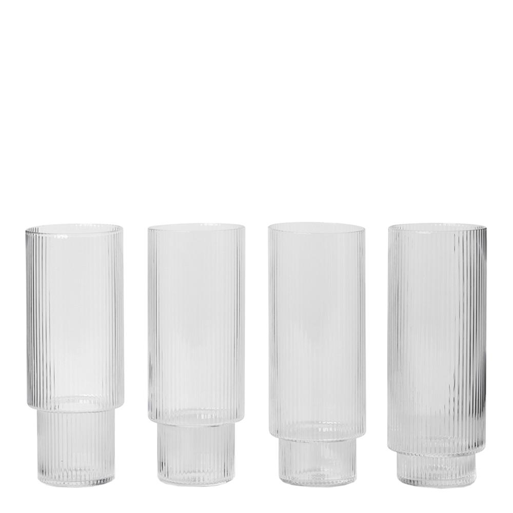 Ferm Living - Ripple Glas 30 cl 4-pack Klar