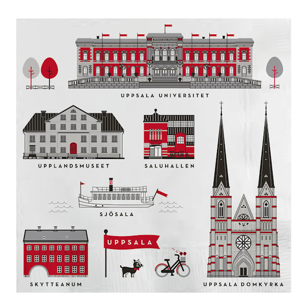 Houses of Uppsala Servett 16,5x16,5 cm Röd