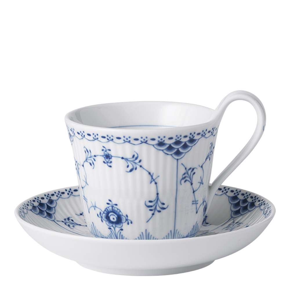 Royal Copenhagen - Blue Fluted Half Lace Kaffegods 25 cl